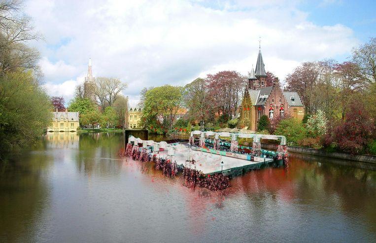 Een podium op het Minnewater zou er volgens Pol Van Den Driessche zo kunnen uitzien.