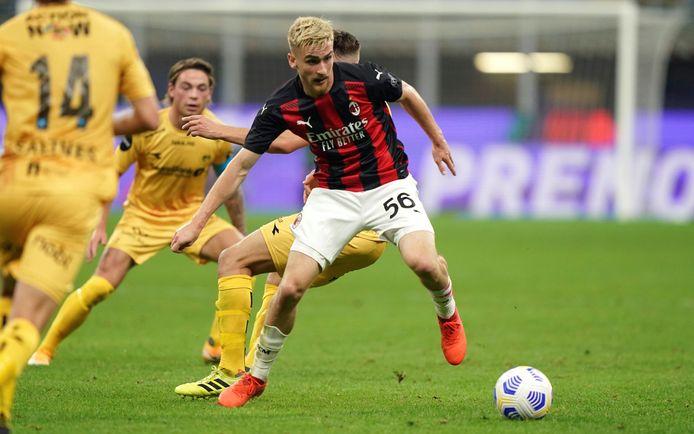 Alexis Saelemaekers vorige week met Milan in de voorlaatste kwalificatieronde van de  Europa League tegen het Noorse Bodo/Glimt.