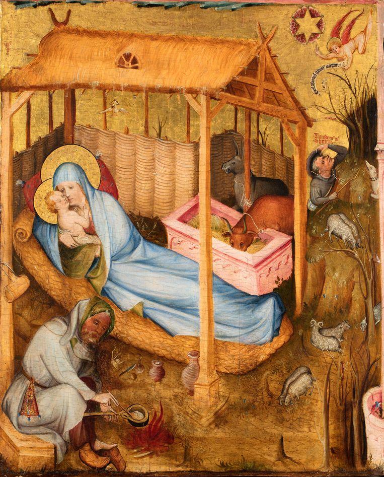 Geboorte van Christus, paneel uit het Middelrijns altaar, Middelrijn of Westfalen, ca. 1410, Museum Catharijneconvent Beeld