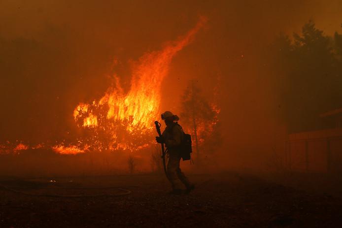 Door de droogte van de laatste tijd grijpt het vuur snel om zich heen.