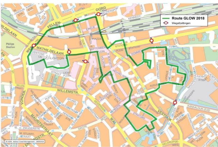 De route van Glow inclusief de wegafsluitingen