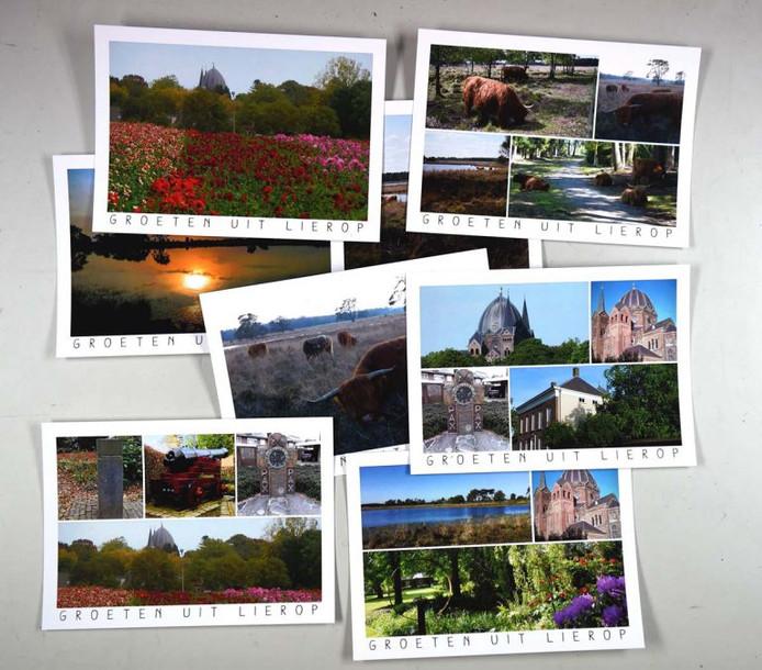 Een collage van de winnende ansichtkaarten van Lierop