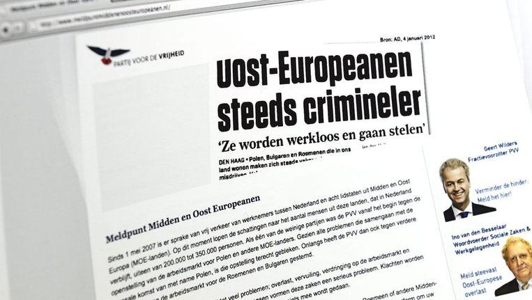 De website meldpunt van de PVV voor mensen die klachten hebben over Midden- en Oost-Europeanen. Beeld null