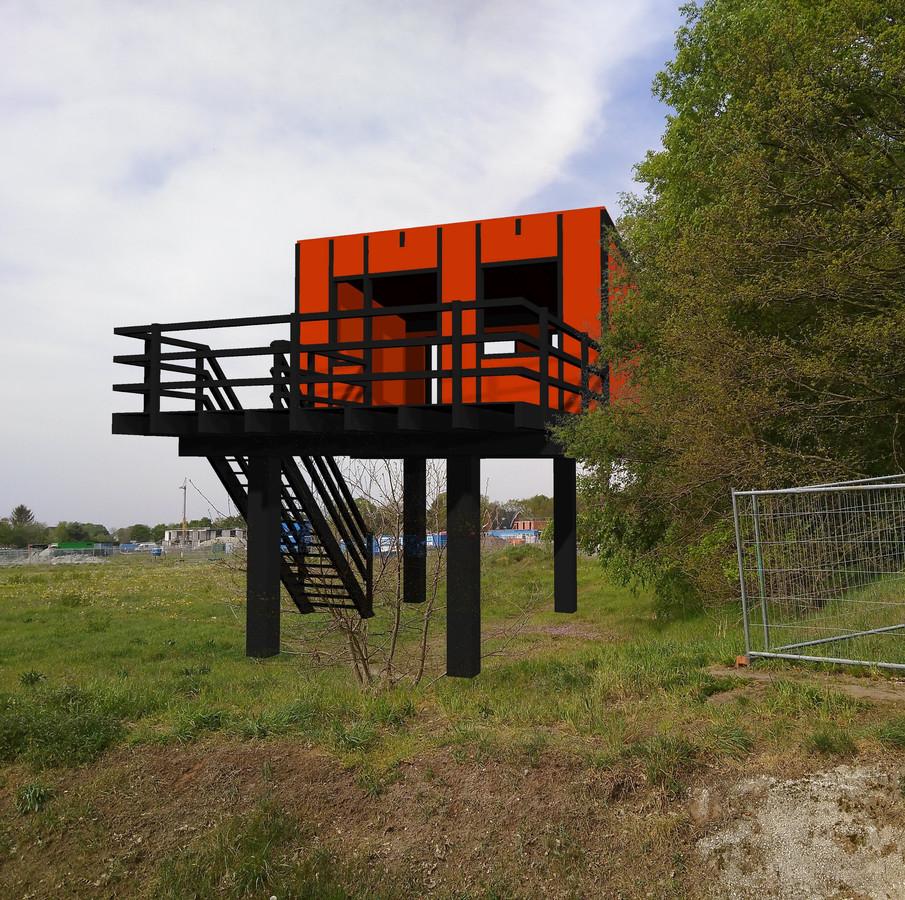 Kunstenaar Jeroen Doorenweerd ontwiep deze 'wijstwoning' voor bij het Boekelse Ecodorp