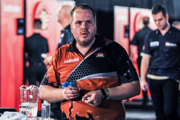 Dirk van Duijvenbode dit jaar op de UK Open, waar hij bij de laatste 32 kwam.