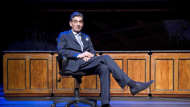 Advocaat Gerard Spong tijdens de theatervoorstelling Advocaat van de duivel in het DeLaMar Theater in Amsterdam. Beeld anp