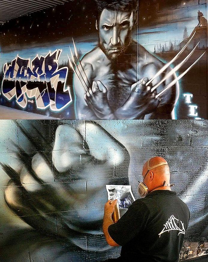 Kunstenaar aan het werk bij de Graffiti Jam van 2016