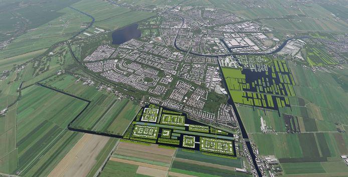 Grove schets voor de nieuwe woonwijk in Alphen-Noord (links vooraan, rechts de Gnephoek).