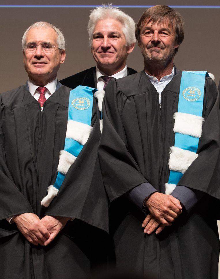 Van links naar rechts: Economist Nicholas Stern, rector van de universiteit van Bergen Philippe Dubois en Frans oud-minister, milieuactivist en presentator Nicolas Hulot.