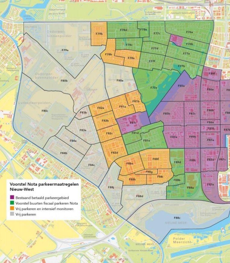 Het voorstel van Stadsdeel Nieuw-West op op sommige plekken in de buurt betaald parkeren in te voeren Beeld Stadsdeel Nieuw-West