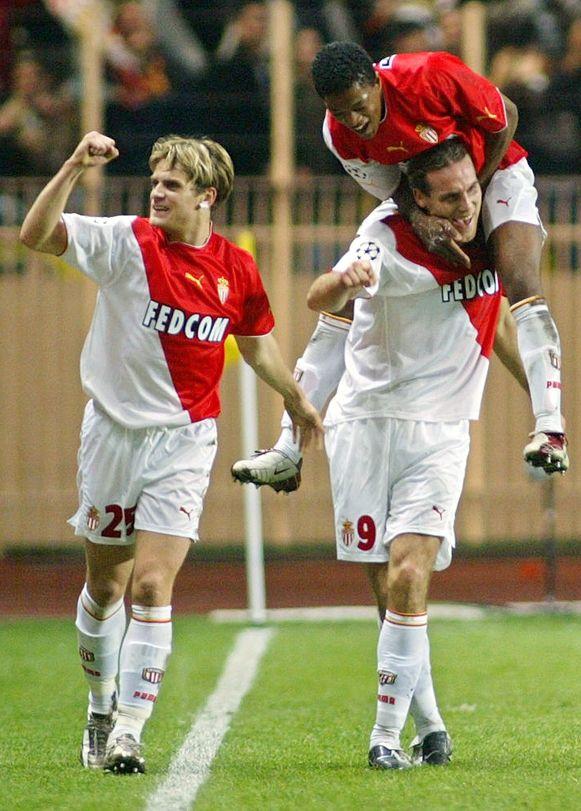 Links Jérôme Rothen, rechts springt Evra in de nek van Dado Prso toen het trio nog uitkwam voor AS Monaco.