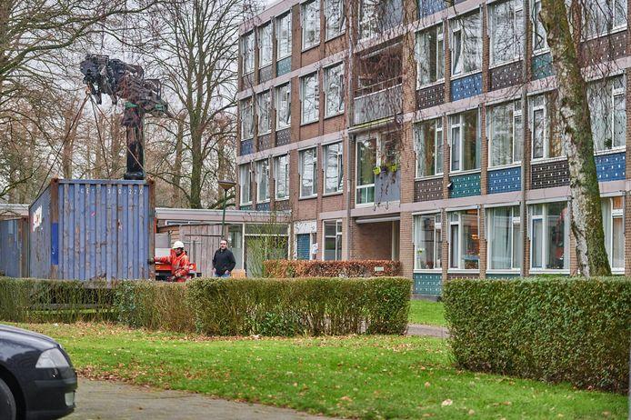De container voor seniorenresidentie Ruitersbos in Breda werd vanochtend weggehaald.