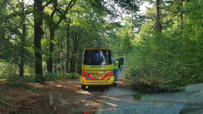 Boswachter Tim Hogenbosch is vanmiddag samen met een ambulance op zoek gegaan naar een gewonde mountainbiker in de bossen bij Amerongen