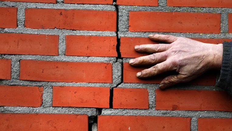 Scheur in de muur na een aardbeving in Groningen in februari van dit jaar. Beeld ANP