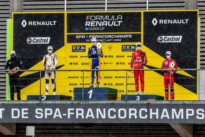 Ugo De Wilde op de derde trede van het podium in Francorchamps.