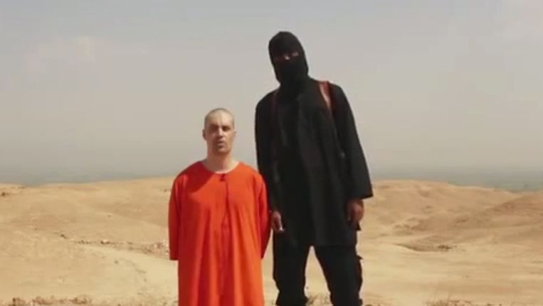 James Foley legt een verklaring af voordat hij wordt onthoofd. Beeld ap