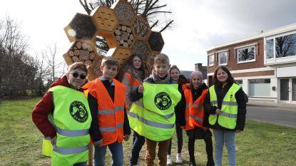 Kindergemeenteraad opent bijenhotel op Pierets De Colvenaerplein