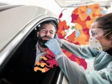 CORONAKAART | Net als vorig weekend stevige daling aantal besmettingen; kijk hier hoe het in jouw gemeente is