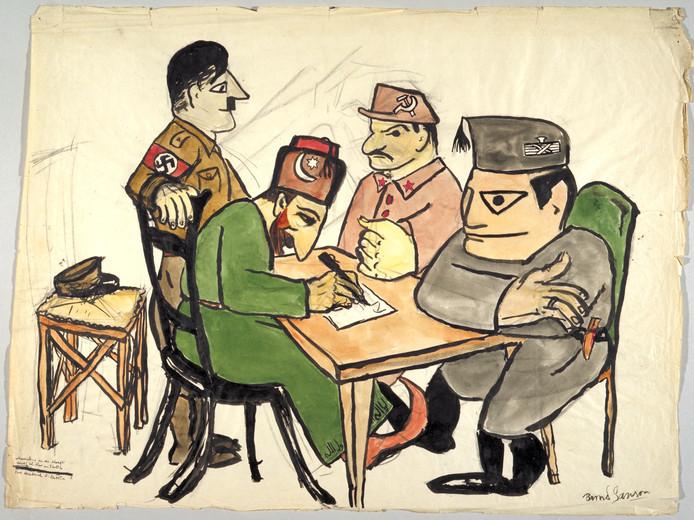 Eén van de vijftien cartoons die Bernd Sanson maakte in 1937 en 1938 (de vier grootste dictatoren van die tijd).