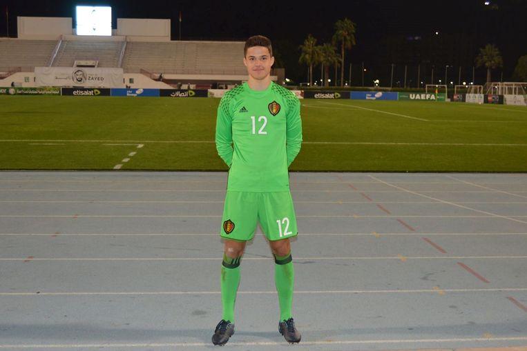 Senne Lammens stond ook in de goal bij de Rode Duivels U16.