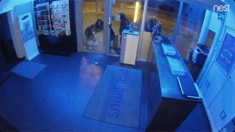 Op camerabeelden in de winkel van Guy Van Tornhout is te zien hoe de vier inbrekers met een riooldeksel de glazen deur inslaan.