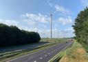 Impressie van de nieuwe windmolens langs de A28 gekeken vanuit noordelijke richting.