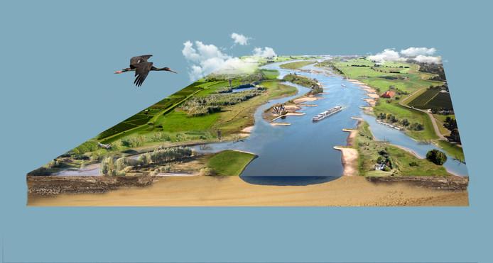 De rivieren moeten hele lange nevelgeulen krijgen om de stroomsnelheid er uit te halen.