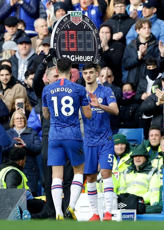 Armando Broja bij zijn debuut bij Chelsea, als vervanger van Olivier Giroud.