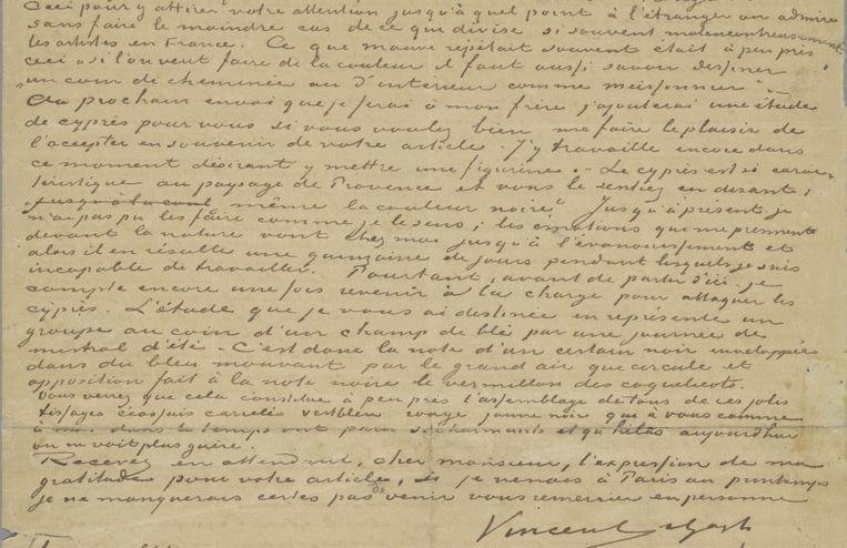 Brief van Vincent van Gogh aan Albert Aurier (detail), 9 of 10 februari 1890. Beeld Van Gogh Museum (schenking dhr. en mevr. Cheung Chung Kiu)