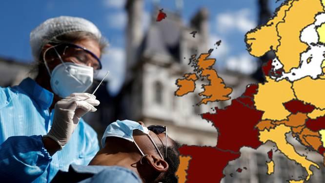 Europa kleurt steeds roder op nieuwe coronakaart