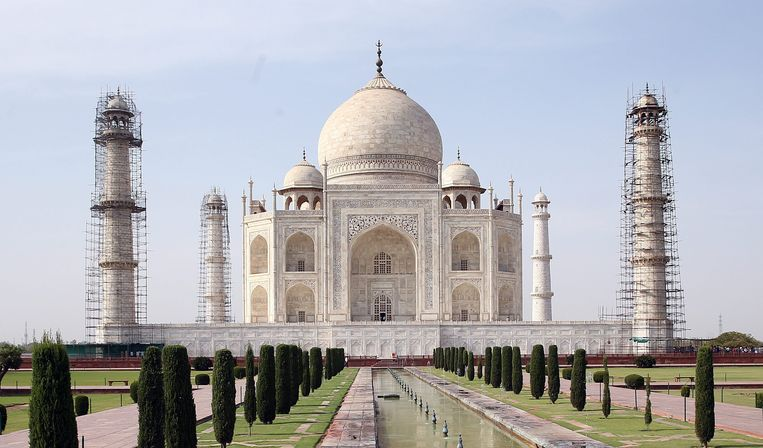 De Taj Mahal, wereldberoemd monument of eeuwige liefde en symbool van India.