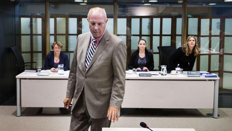 'Maseratiman' Möllenkamp van woningbouwcorporatie Rochdale wordt verhoord door parlementaire enquêtecommissie. Beeld Arie Kievit