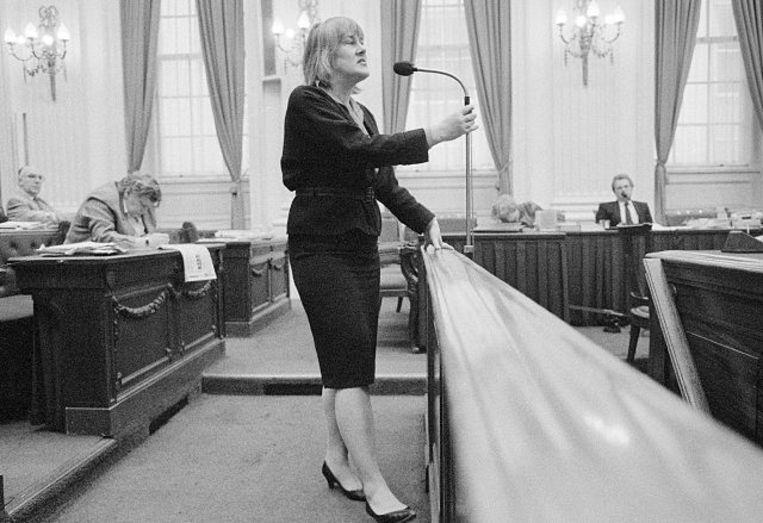 Elske ter Veld in debat. Beeld Wikimedia Commons