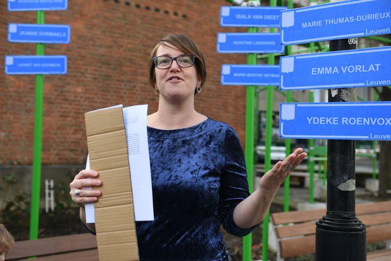 Schepen Lies Corneillie (Groen) is helemaal mee het plan om meer vrouwennamen te laten verschijnen in de Leuvense publieke ruimte.