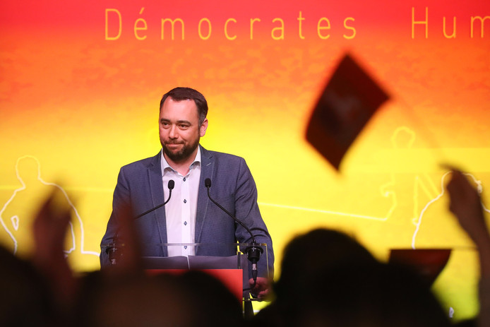 cDH's Maxime Prevot delivers a speech at the post-election meeting of frenchspeaking christian democrat party cdH, in Meux, Sunday 26 May 2019. Belgium had regional, federal and European elections on Sunday. BELGA PHOTO BRUNO FAHY