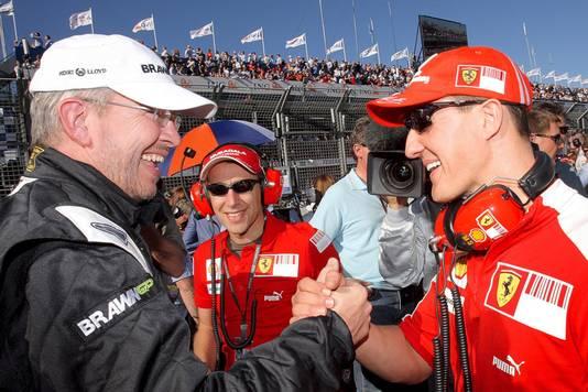 Brawn en Schumacher in betere tijden.