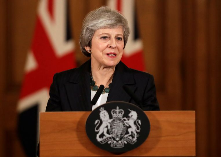 Theresa May tijdens de persconferentie van vanavond.