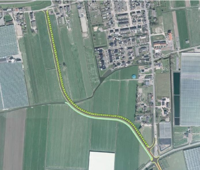 De nieuwe rondweg bij Nieuwaal begint op de kruising Jacob Ekelmansstraat-Hogeweg en loopt via de weilanden in de richting van de Beemstraat. Langs de weg worden bomen geplant.