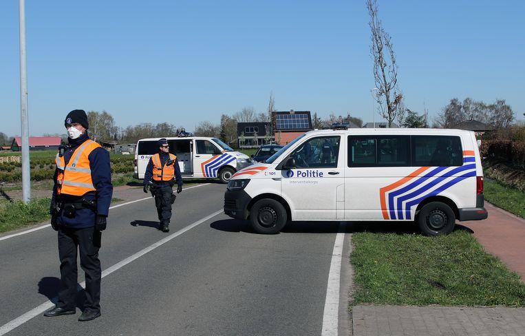 Grenscontrole aan Strijbeek in Hoogstraten.
