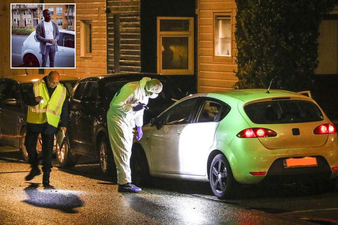 De politie doet onderzoek aan de Rhijnauwensingel in de wijk Beverwaard waar twee doden zijn gevallen door een schietpartij. Foto-inzet: slachtoffer Gilbert Henriëtta.