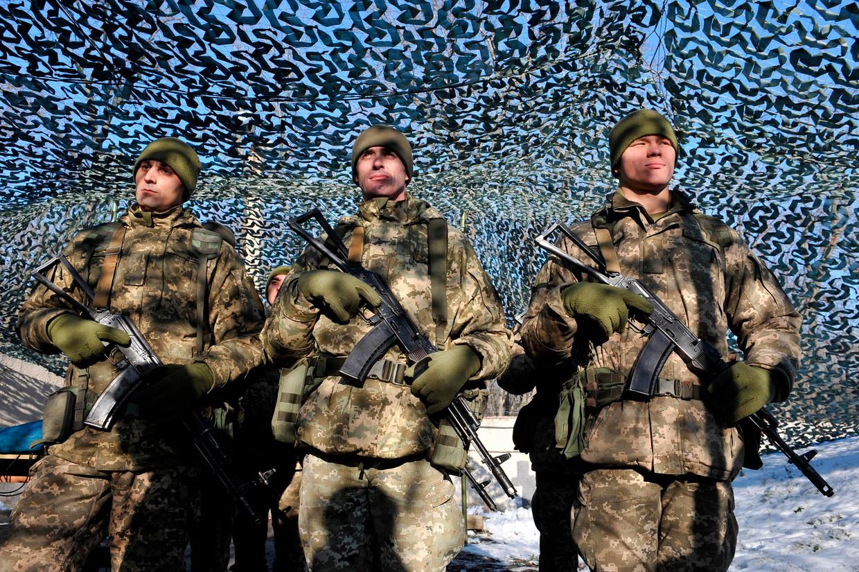 Oekraïense soldaten tijdens een bijeenkomst met Oekraïense president Zelenski afgelopen week.