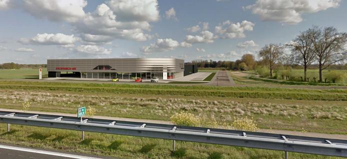 Impressie van het nog te bouwen nieuwe pand van Porsche Centrum Twente, dat vanaf 2021 onder dezelfde naam in Deventer zit.