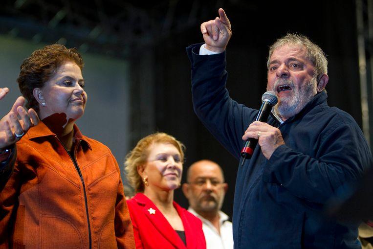 President Lula da Silva van Brazilië spreekt op een partijbijeenkomst (AP) Beeld AP