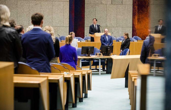 Premier Mark Rutte in de Tweede Kamer