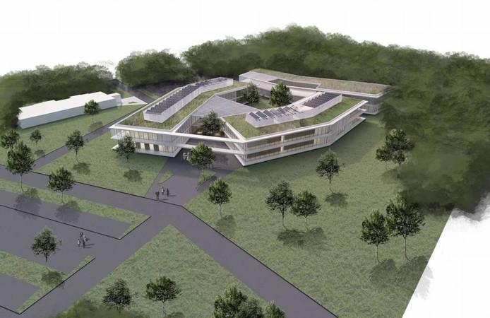 Het nieuwe ziekenhuis in Venray in vogelvlucht.