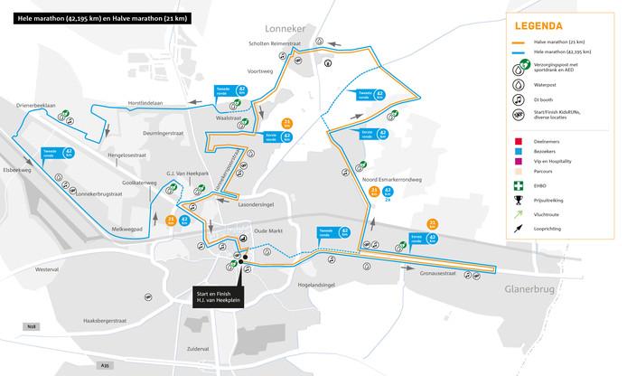 Parcours hele en halve marathon 2019 Enschede Marathon