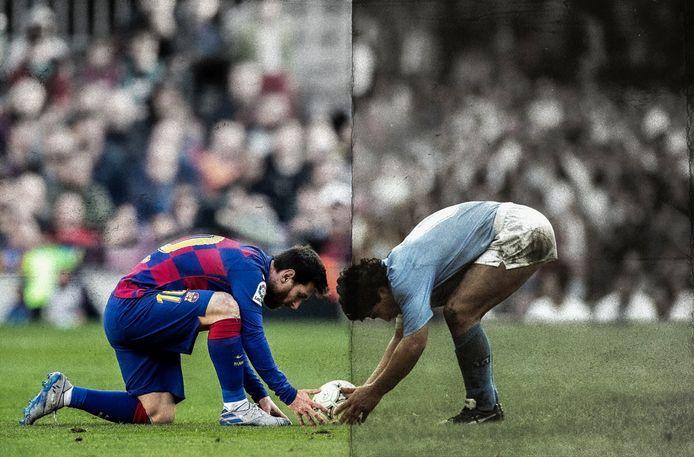 Montage van Lionel Messi bij barcelona en Diego Armando Maradona als speler van Napoli
