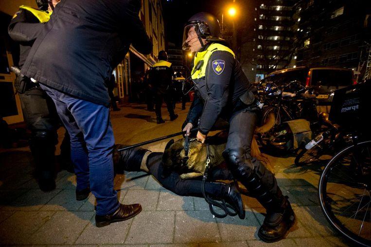 Een politiehond bijt een demonstrant bij de Turkse rellen in Rotterdam. Beeld ap