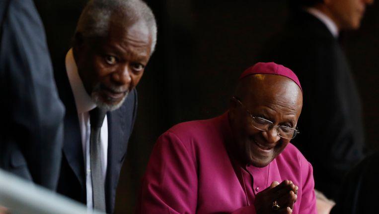 Aartsbisschop Desmond Tutu en Kofi Annan, oud-secretaris-generaal van de VN. Beeld ap