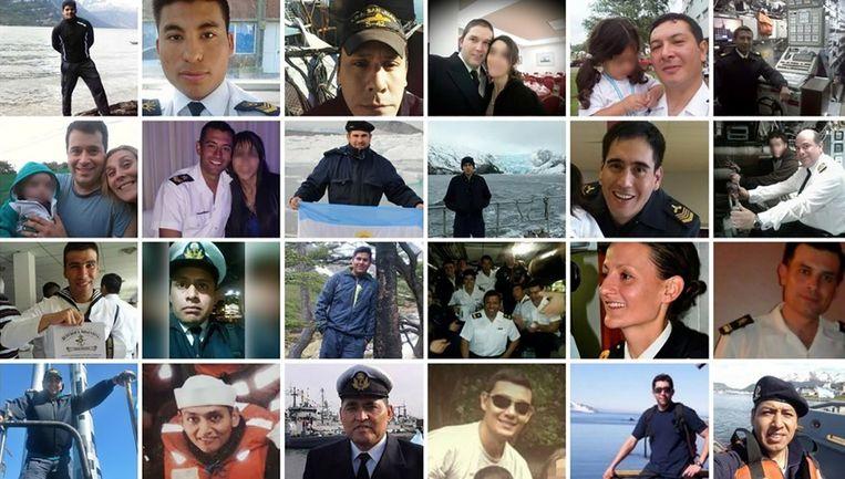 De bemanningsleden van de vermiste Argentijnse onderzeeër ARA San Juan.